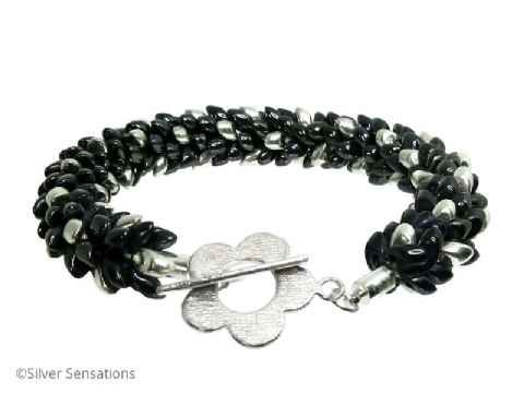 Glossy Grey Black Gunmetal & Silver Colour Beaded & Woven Petals Kumihimo Seed Bead Bracelet